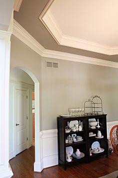 crown molding inside tray ceiling @ Home Design Ideas Pine Bedroom Furniture, Bedroom Decor, Master Bedroom, Bedroom Stuff, Bedroom Ideas, Colored Ceiling, Ceiling Color, Ceiling Fan, Paint Ceiling