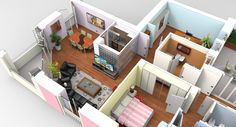 Interior apartment modeled in MoI, furniture in SketchUp and rendered in KeyShot by Mario Raina.