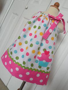 Birthday Cupcake Pink and Rainbow Polka Dot birthday party dress