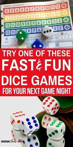 Games for Kids: Check out these 10 fast and fun dice games for kids to play on your next family game night! #christmasideasforkids