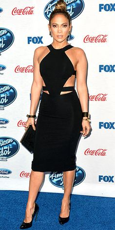 Last Night's Look: Love It or Leave It? | JENNIFER LOPEZ | Cutouts may be ubiquitous, but that doesn't make them any less attention-grabbing, as proven by Jennifer in her black Cushnie et Ochs obliques-flaunting halter at the American Idol event in West Hollywood.