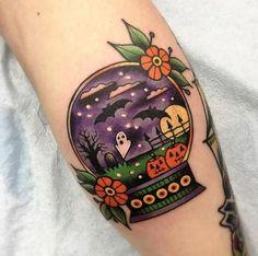 Halloween snow globe tattoo by Shannon Pagliarini