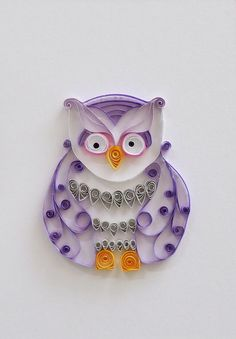 Quilled Paper Purple Owl Home Decor - Paper Owl Wall Decor