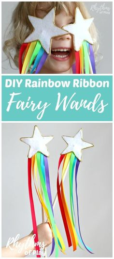 DIY Rainbow Ribbon Fairy Wands for Kids! Learn how to make this no-sew felt craft idea with rainbow streamers perfect for children of all ages. Use them as a dress up prop for pretend or imaginative play. Magic star fairy princess wands also make a great birthday party favor.