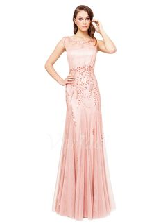 Evening Dresses - $168.75 - A-Line/Princess Scoop Neck Floor-Length Chiffon Tulle Evening Dress With Feather Sequins (0175060037)