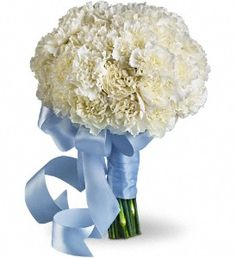 Densely packed white carnations form a cloud of beauty, wrapped with light blue satin ribbon.  A lush cluster of bright white carnations held with a blue satin ribbon.