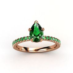 Pear Emerald 14K Rose Gold Ring with Emerald & Emerald  - lay_down
