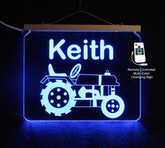 Tractor Sign for Kids, Personalized Gift, Birthday Gift,  Remote controlled. #baby #tractor #kids #JohnDeere #kidsroom