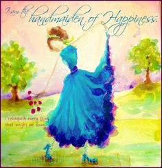 """10x10 archival print """"Handmaiden of Happiness"""" of whimsical, happy and colorful abstract artwork by Marabeth Quin"""
