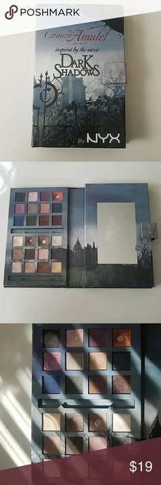 By NYX, The Crimson Amulet pallet Pre-owned. Great for those who love collecting NYX!! Inspired by the movie Dark shadows!   This pallet was created only for a limited time!! The movie stars Johnny Drop and Helena Bonham Carter, directed by Tim Burton.   Includes:  24 eyeshadows, 5 blushes, a highlighter and 4 products. The two gaps are where the sample eyeliner and eyeshadow base where. Photos show usage. NYX Cosmetics Makeup Eyeshadow