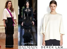 Queen Rania wears Balmain Dress - (Fall 2016 Ready-to-Wear Fashion) and DEREK LAM Cape Blouse. www.newmyroyals.com