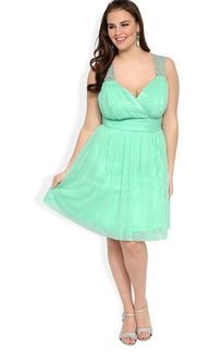 Mint Green Plus Size Short Prom Dress with Stone Trim Keyhole Back