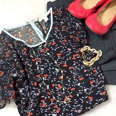 Ella Moss Sheer Floral Blouse Sheer. Floral. Feminine. Slits at the hip. Peep hole button neck. TRENDY tomato red. This Ella M. Short sleeve blouse is of the dress up or down variety. Tuck into a high waisted skirt, skinnies or shortie shorts. It's perfect for those bright heels and 10min wavy hair. In the Spring maybe a cami and blazer. In the summer you could be brave and flaunt your inner Carrie B. and wear a bright colored bra and a personalized necklace. But that's just me... Although…