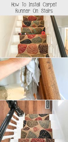 DIY Tutorial on how to install carpet runner on stairs and wood steps with or wi. DIY Tutorial on how to install carpet runner on stairs and wood steps with or without adding stair Staircase Carpet Runner, Wood Staircase, Carpet Stairs, Outdoor Carpet, Diy Carpet, Simple Green Cleaner, Wardrobe Organisation, Wood Steps