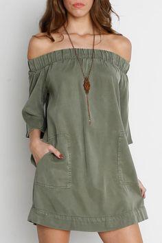 Utility Off Shoulder Pocket Dress