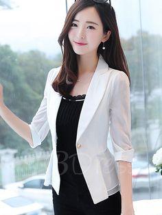 d0a6b04b67d One Button Half Sleeve Falbala Patchwork Women s Blazer