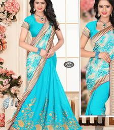 Buy light Blue embroidered georgette Saree with blouse brasso-saree online