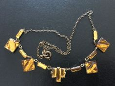 Vintage-Czech-VAUXHALL-Mirrored-Glass-Amber-Coloured-Art-Deco-Necklace-c1930-s
