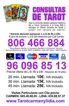 www.tarotcarmenylidia.es/es Atención Personal. Realizamos consultas privadas 20€-1h. Puedes seguirnos por Facebook