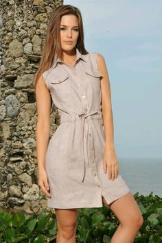 Short Summer Dresses, Simple Dresses, Casual Dresses For Women, Pretty Dresses, Dresses For Work, Casual Wear, Casual Outfits, Look Office, Denim Skirt Outfits