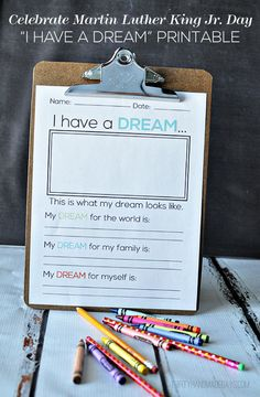 "An idea for the weekend. Celebrate Martin Luther King Jr. Day with this ""I have a dream"" printable. Even though my daughter's only three, we're going to print it out and talk about Dr. King and dreams this weekend. Love it!"