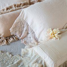 Bella Notte Linens Olivia Linen & Lace Pillowcase Ships Free