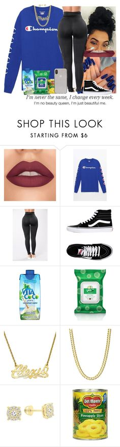 """CHAMPION X QUEEN😘"" by princessaesthetic ❤ liked on Polyvore featuring PacSun, Vans, Vita Coco, Forever 21, YES and Kate Spade"