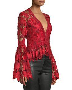 Alexis Vinton V-Neck Floral Lace Long-Sleeve Top Kaftan Designs, Nicole Fashion, White Fashion, Lace Tops, Floral Lace, Long Sleeve Tops, Fashion Dresses, Vintage Outfits, Womens Fashion