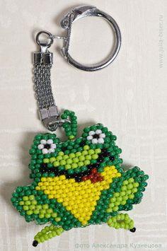 Beads.  Frog Keychain