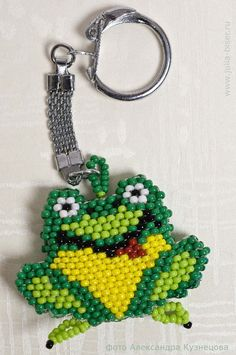 Beads.  Frog Keychain