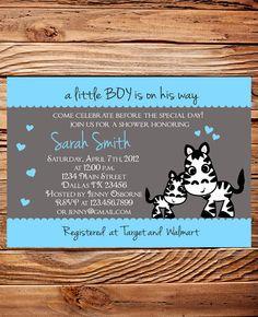 Zebra Baby shower Invitation Girl, Boy, Yellow, Gray, Blue, Baby Shower Invite Zebra, Baby Shower Invitation, Digital. $18.00, via Etsy.