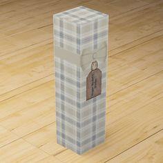 Custom Blue and Ivory Plaid Wine Gift Box