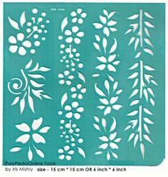 Stencil Stencils Pattern Template 4 Border Flower 6 by irismishly (Craft… Wall Stencil Patterns, Stencil Templates, Stencil Designs, Wall Art Designs, Adhesive Stencils, Cake Stencil, Scrapbook Supplies, Wood Glass, Beautiful Patterns
