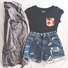 stone grey jacket, black tee w/ floral pocket, medium-washed high-waisted distressed shorts | More outfits like this on the Stylekick app! Download at http://app.stylekick.com