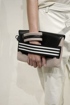 Leather & mesh clutch bag; sporty fashion details // J.Crew Spring 2015