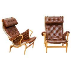 Rare Bruno Mathsson Pernilla Leather Arm Chairs