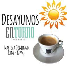 Recuerda que ya tenemos desayunos en #EntornoCondesa todos los días. Te esperamos a desayunar de martes a domingo a partir de las 8 am.