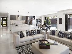 Open Plan Kitchen Living Room Grey It may be time to amend your decor.Something like this for the lounge in the open plan living . Living Room Modern, Rugs In Living Room, Home And Living, Living Room Designs, Living Room Decor, Living Spaces, Coastal Living, Modern Coastal, Coastal Style