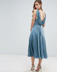 ASOS | ASOS WEDDING Premium Drape Cowl Back Midi Dress
