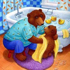 Bear taking bath: Kathi Ember Teddy Bear Cartoon, Cute Teddy Bears, Teddy Pictures, Animal Hugs, Bear Character, Dachshund Art, Animation, Bear Art, Pooh Bear
