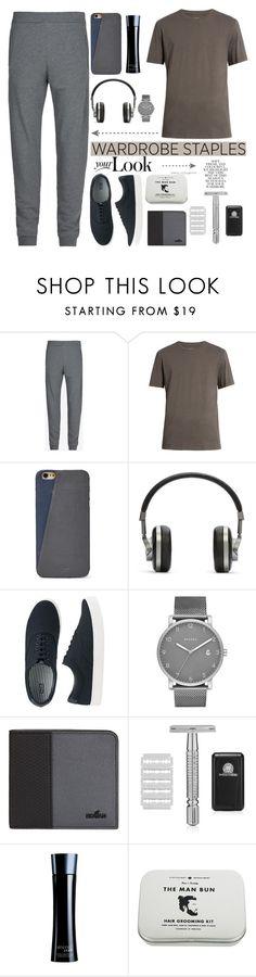 """Menswear"" by lucksmetoo ❤ liked on Polyvore featuring Maison Margiela, FOSSIL, Master & Dynamic, Uniqlo, Skagen, Hogan, Giorgio Armani, Folio, Men's Society and men's fashion"