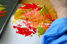 Little Page Turners: Colorful Leaf Printing