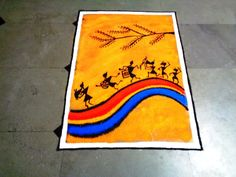 warli poster rangoli Poster Rangoli, Rangoli Designs Images, Hobbies And Crafts, Diwali, Projects To Try, Canvas Ideas, Canvases, Paintings, Decoration