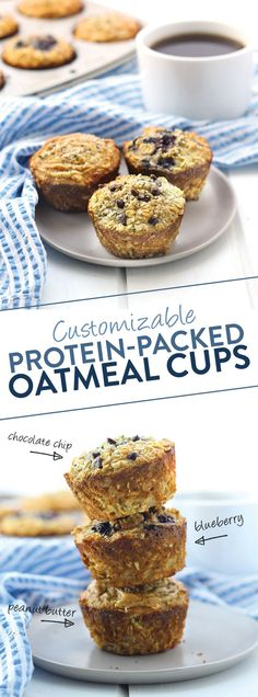 Customizable Protein-Packed Oatmeal Cups Looking for a protein-packed breakfast you can make your own? These Customizable Protein Oatmeal Cups are healthy, have 11 grams of protein and are a great on-the-go breakfast for everyday Healthy Protein Snacks, Healthy Muffins, Protein Foods, Healthy Treats, Healthy Baking, Protein Packed Snacks, Healthy Foods, Healthy Breakfasts, Protein Bars