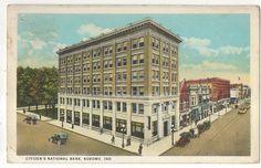 Citizen's National Bank Kokomo in Vintage 1933 Indiana Postcard