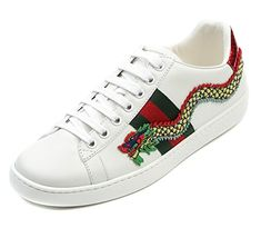 91bbf712e Amazon.com | Wiberlux Gucci Women's Dragon Patch Detail Lace-Up Real  Leather Sneakers 35.0 White | Fashion Sneakers