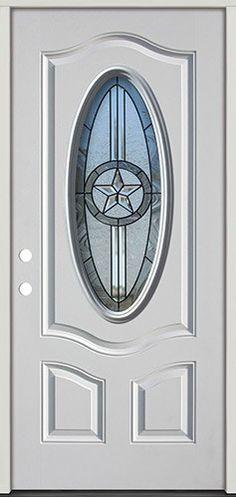 3/4 Oval Texas Star Prehung Steel Door with Sidelites #60: Texas ...