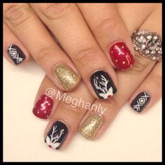 Christmas nails nail art Rudolph nails, sweater nails, gold glitter, cameo nails silhouette nails