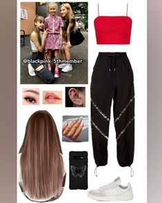 Credits to: abratasas🐰🐰🐰 Band Outfits, Lit Outfits, Kpop Fashion Outfits, Blackpink Fashion, Dance Fashion, Stage Outfits, Korean Outfits, Trendy Outfits, Lisa Black Pink