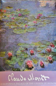 "Claude Monet Water Lillies Print California Legion of Honor 1988 33"" x 22"""